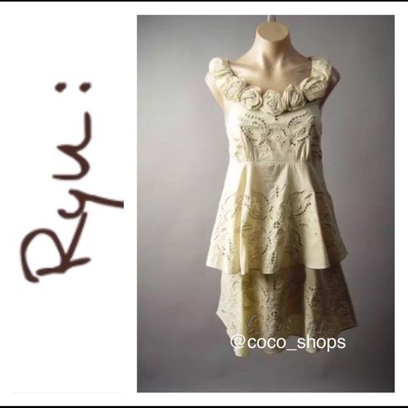 Ryu Cream Embroidery Boho Dress NWT